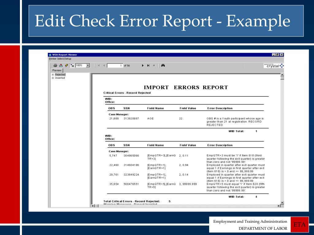 Edit Check Error Report - Example