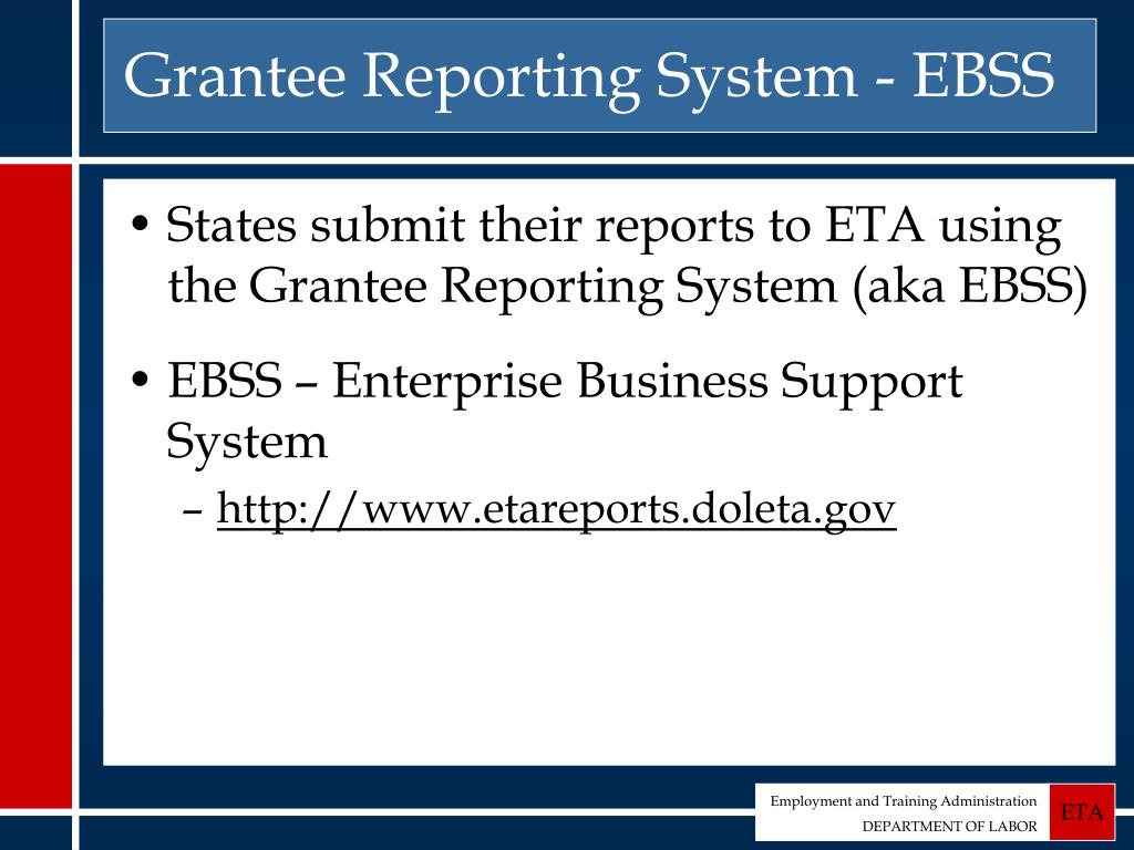 Grantee Reporting System - EBSS