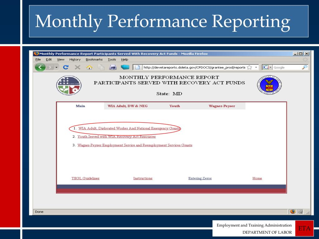 Monthly Performance Reporting