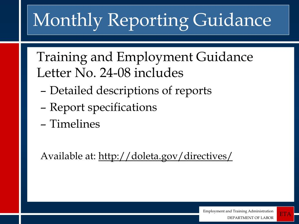 Monthly Reporting Guidance