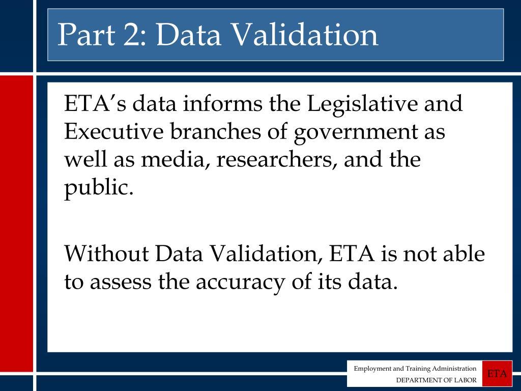 Part 2: Data Validation