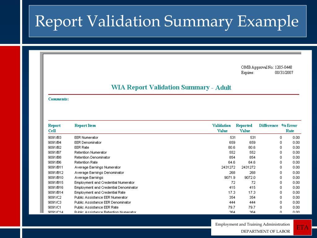 Report Validation Summary Example