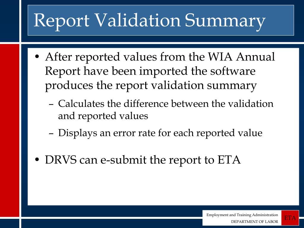 Report Validation Summary