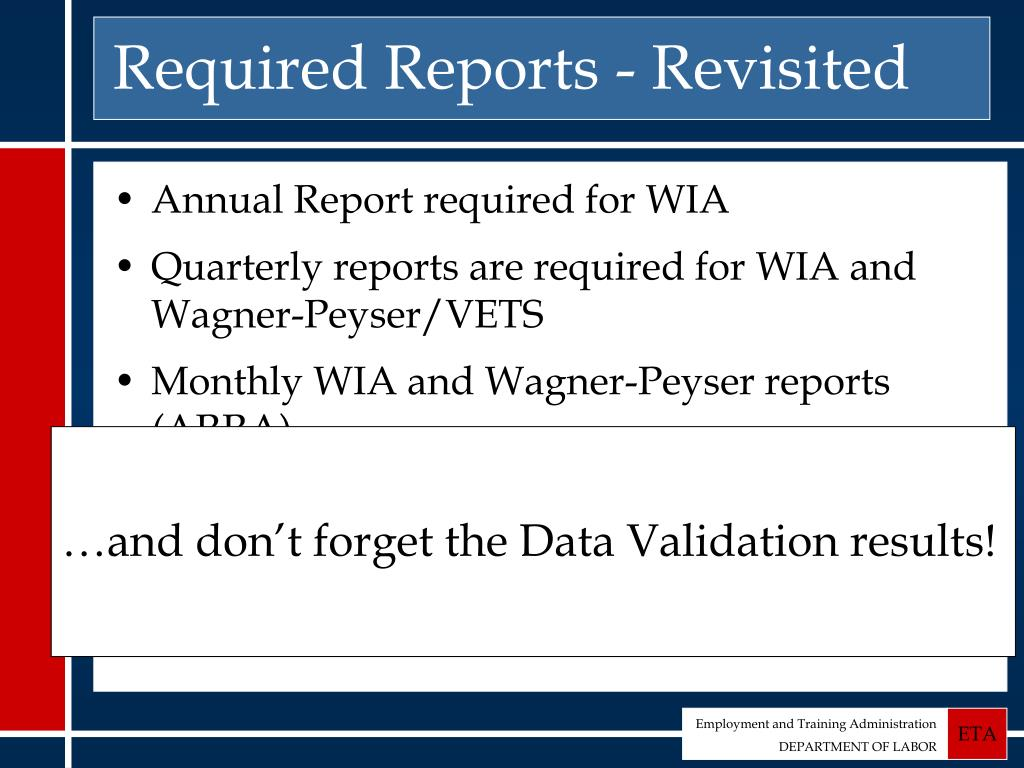 Required Reports - Revisited