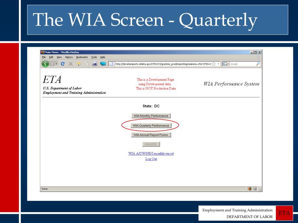 The WIA Screen - Quarterly