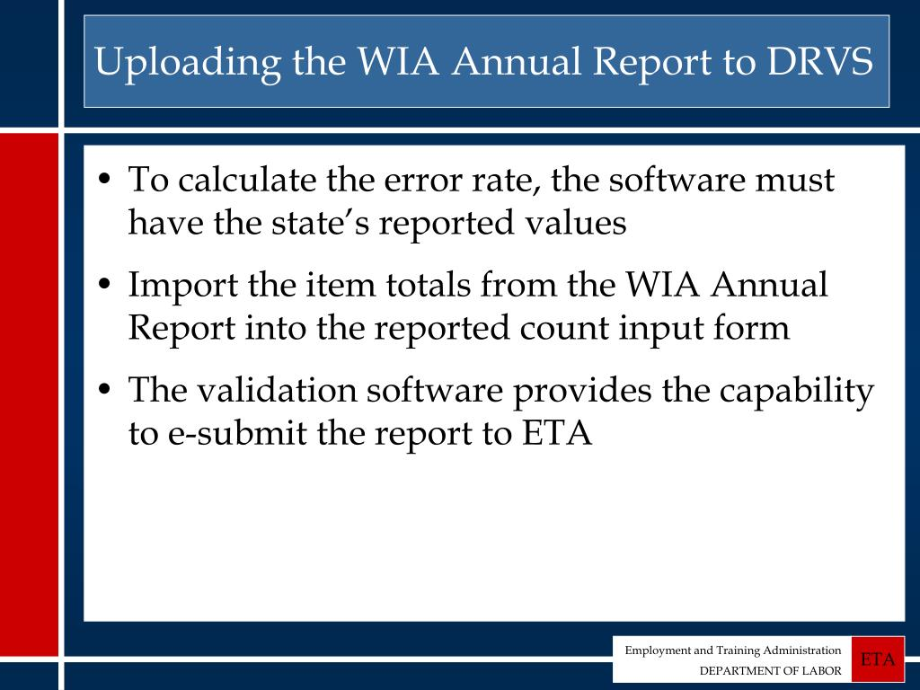 Uploading the WIA Annual Report to DRVS