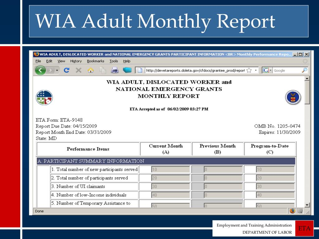 WIA Adult Monthly Report