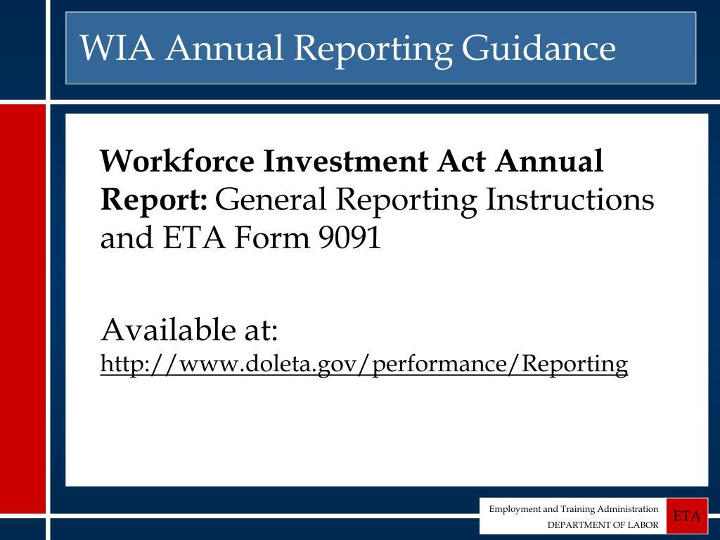 WIA Annual Reporting Guidance