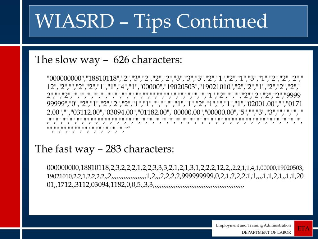 WIASRD – Tips Continued