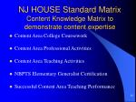 nj house standard matrix content knowledge matrix to demonstrate content expertise