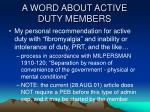 a word about active duty members13