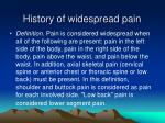 history of widespread pain