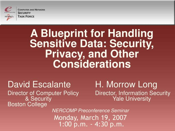 a blueprint for handling sensitive data security privacy and other considerations n.