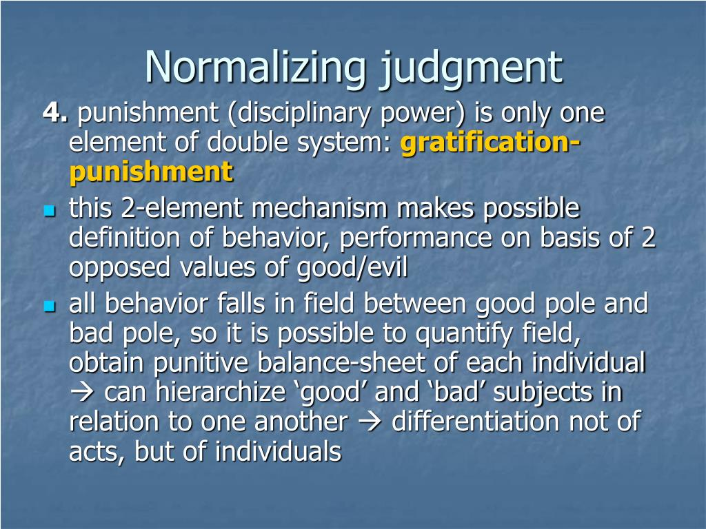 Normalizing judgment