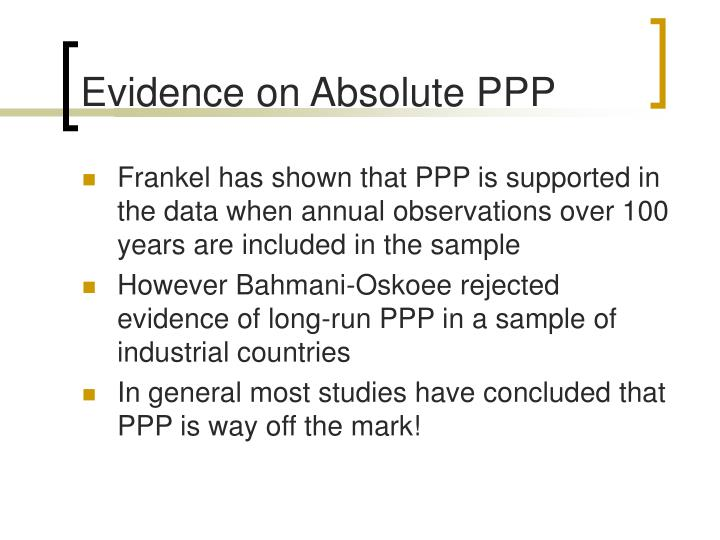 Evidence on Absolute PPP