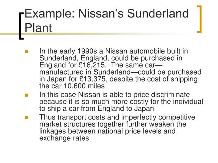 Example: Nissan's Sunderland Plant