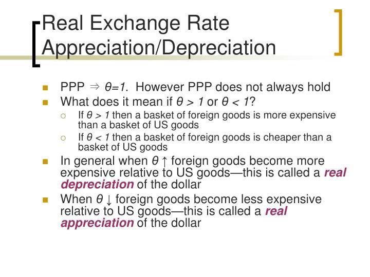 Real Exchange Rate Appreciation/Depreciation
