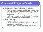 continued program details