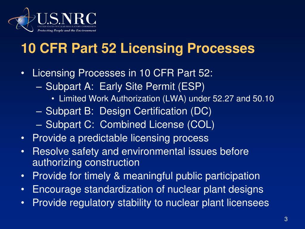 10 CFR Part 52 Licensing Processes