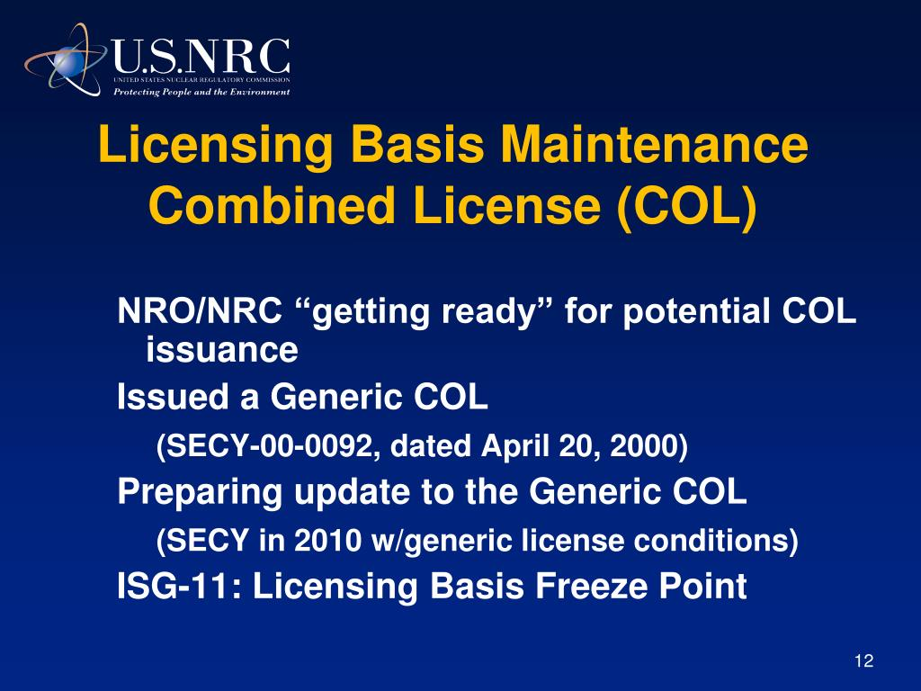 Licensing Basis Maintenance Combined License (COL)