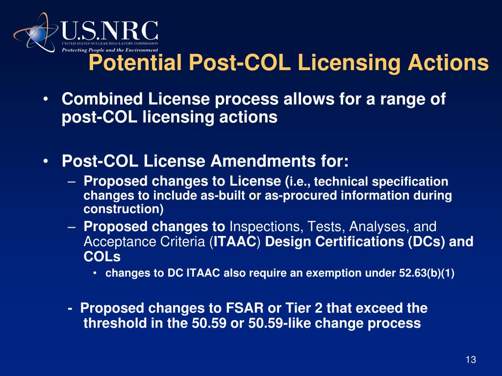 Potential Post-COL Licensing Actions