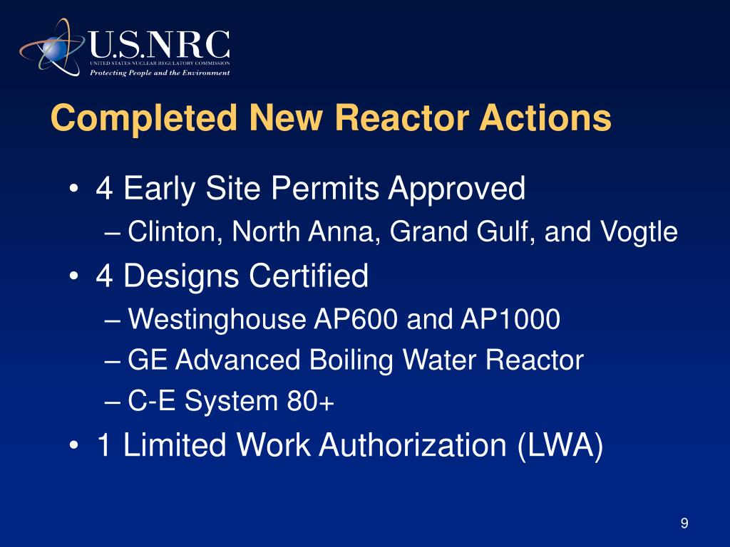 Completed New Reactor Actions