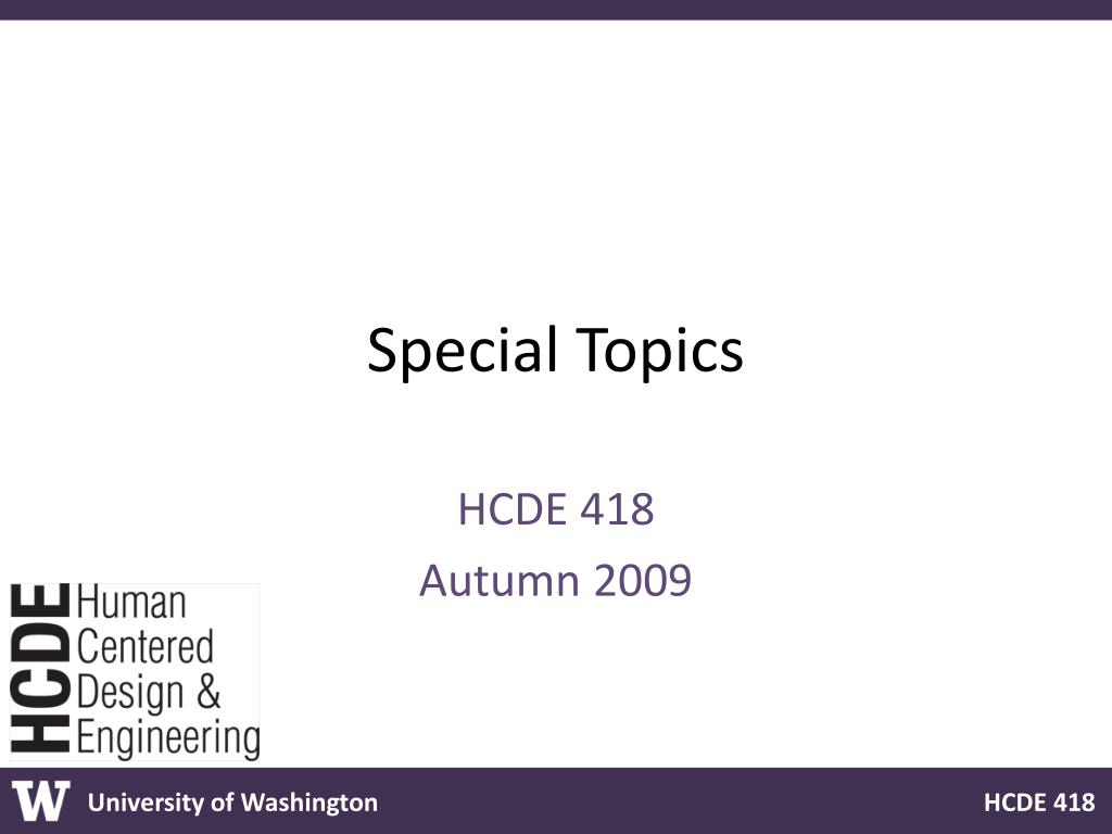 special topics l.