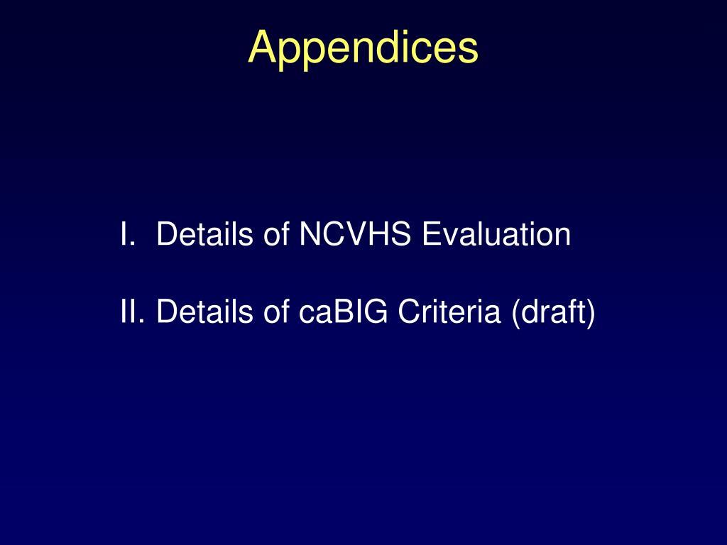 Details of NCVHS Evaluation