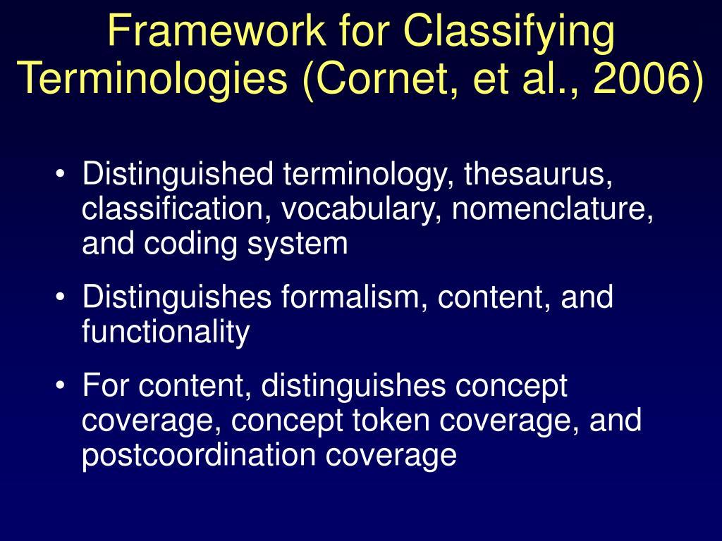 Framework for Classifying Terminologies (Cornet, et al., 2006)
