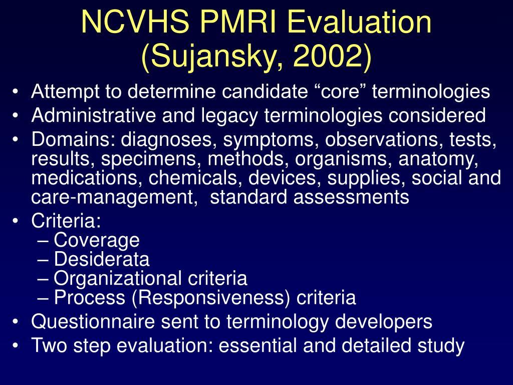 NCVHS PMRI Evaluation