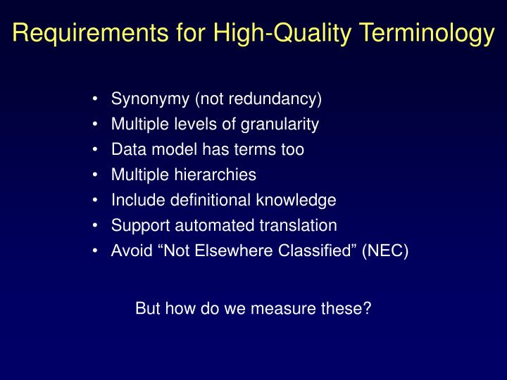 Requirements for high quality terminology