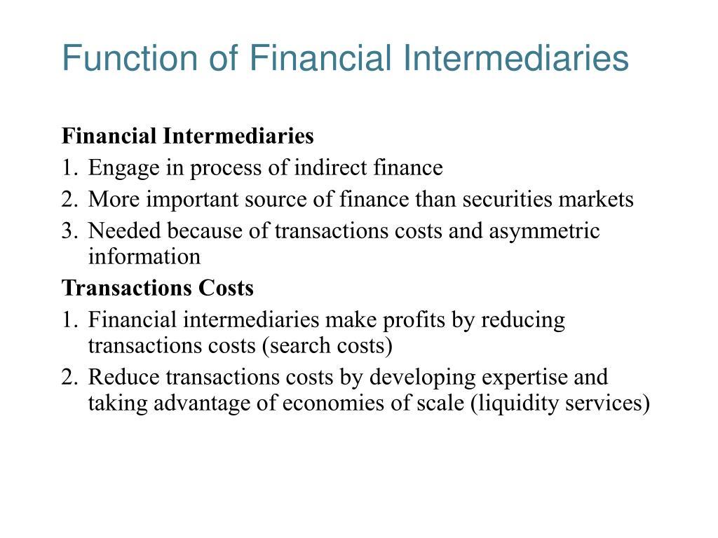 Function of Financial Intermediaries