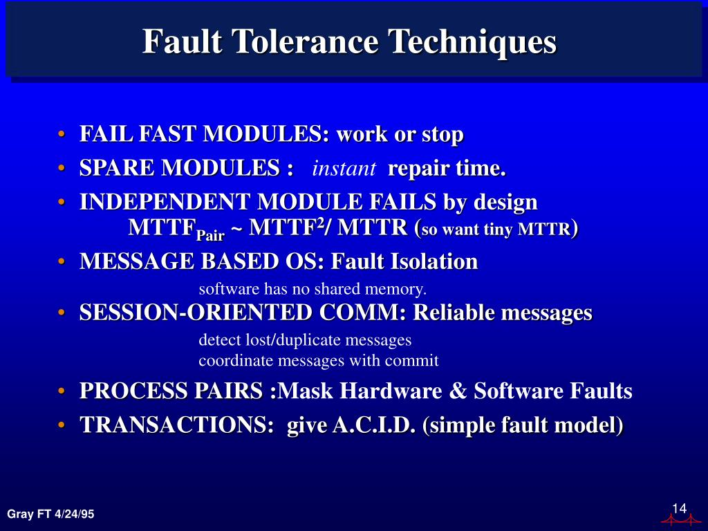 Fault Tolerance Techniques