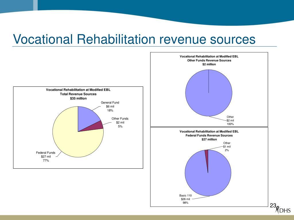Vocational Rehabilitation revenue sources