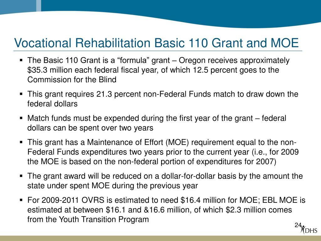 Vocational Rehabilitation Basic 110 Grant and MOE