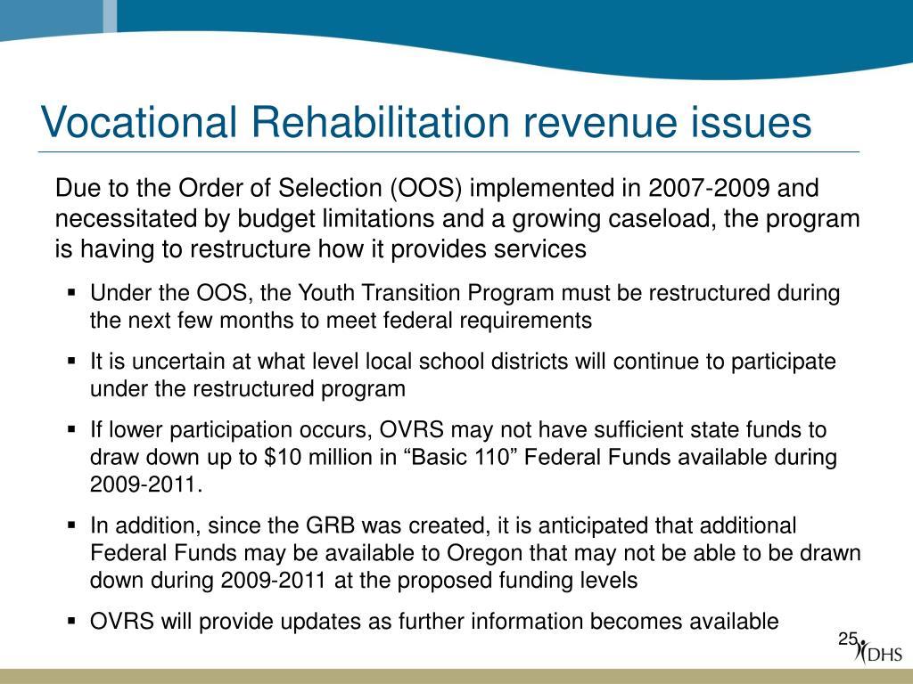 Vocational Rehabilitation revenue issues