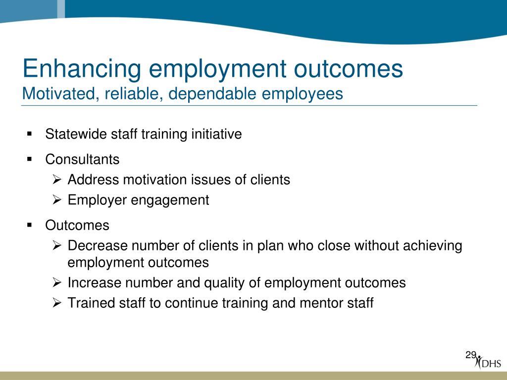 Enhancing employment outcomes