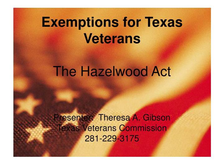 Exemptions for Texas Veterans