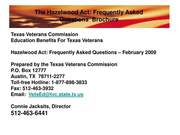 The Hazelwood Act: Frequently Asked Questions  Brochure