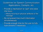guidelines for speech communication applications cockpits etc