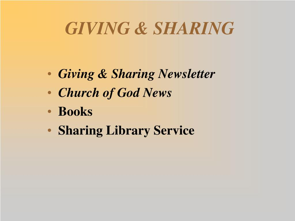 GIVING & SHARING