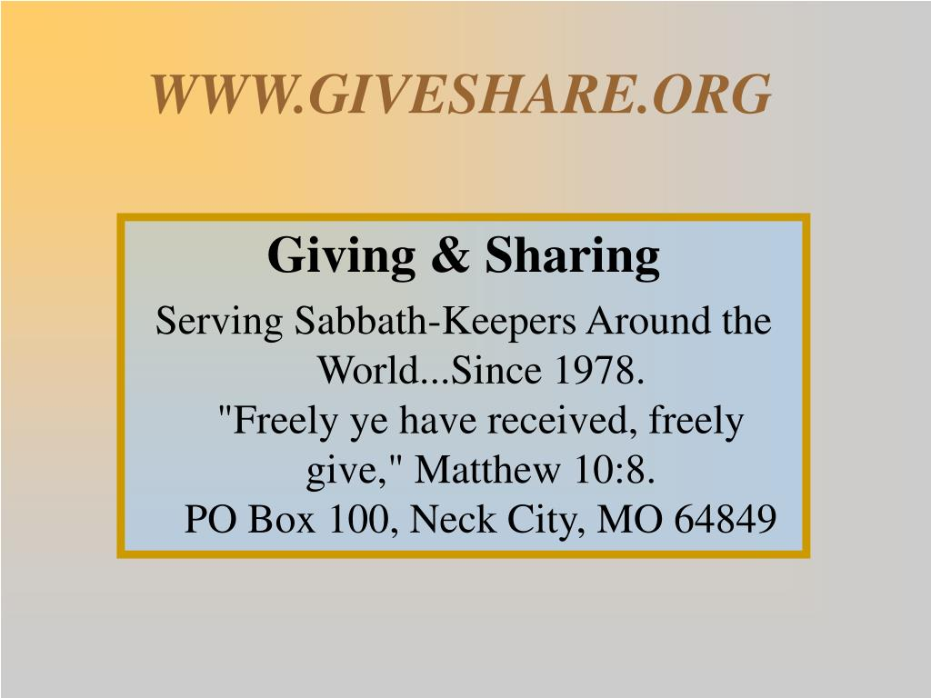 WWW.GIVESHARE.ORG