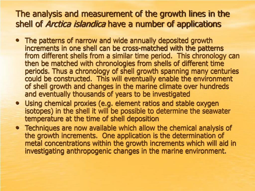 The analysis and measurement of the growth lines in the shell of
