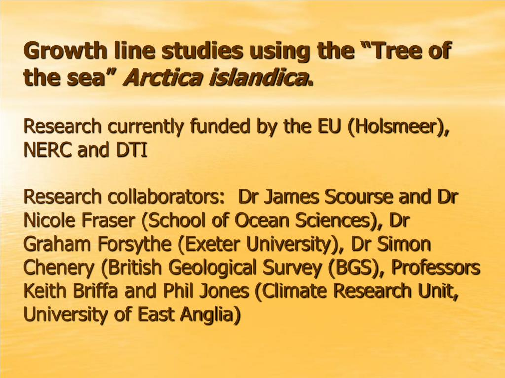 """Growth line studies using the """"Tree of the sea"""""""