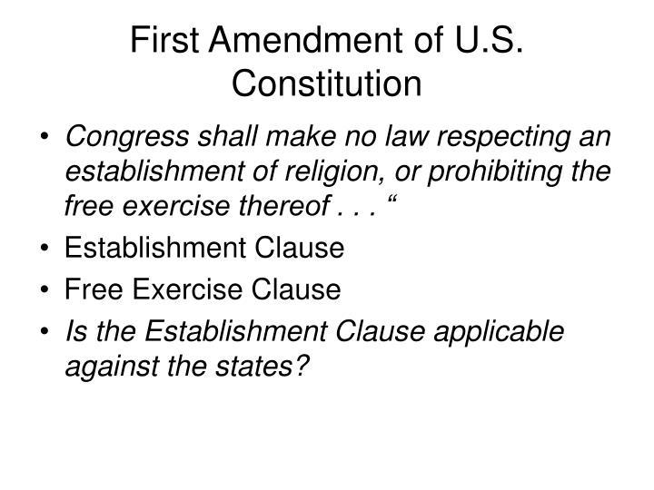 First amendment of u s constitution