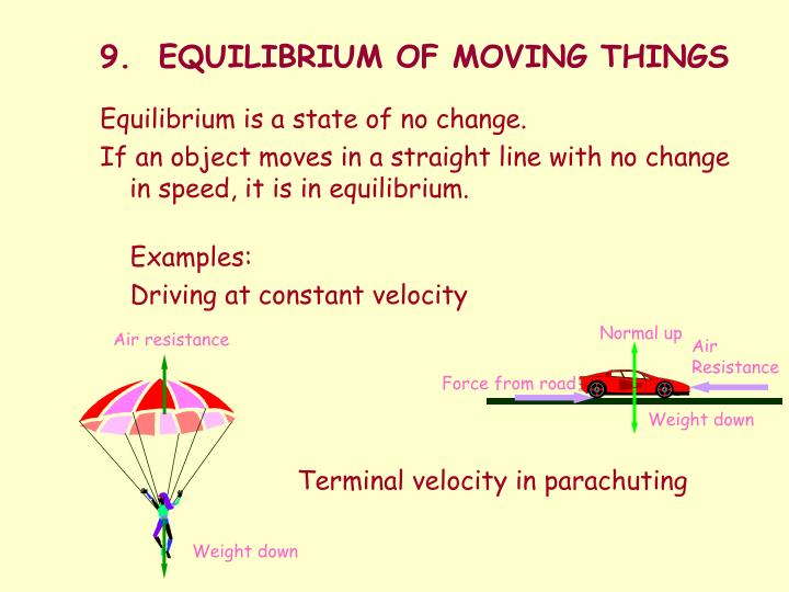 9.  EQUILIBRIUM OF MOVING THINGS