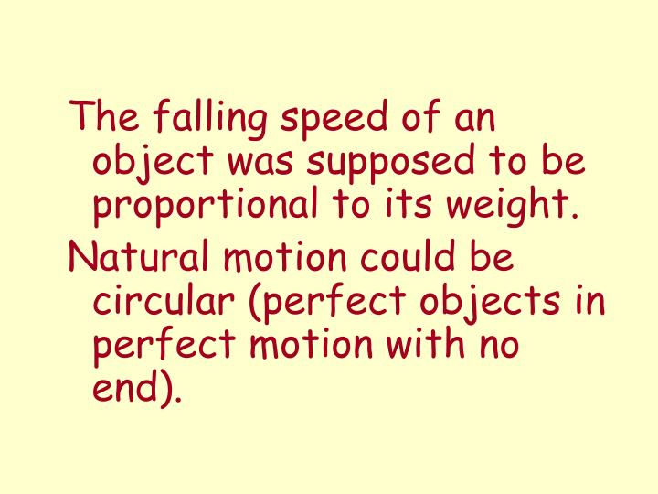 The falling speed of an object was supposed to be proportional to its weight.