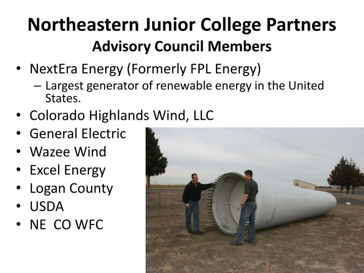 Northeastern junior college partners advisory council members