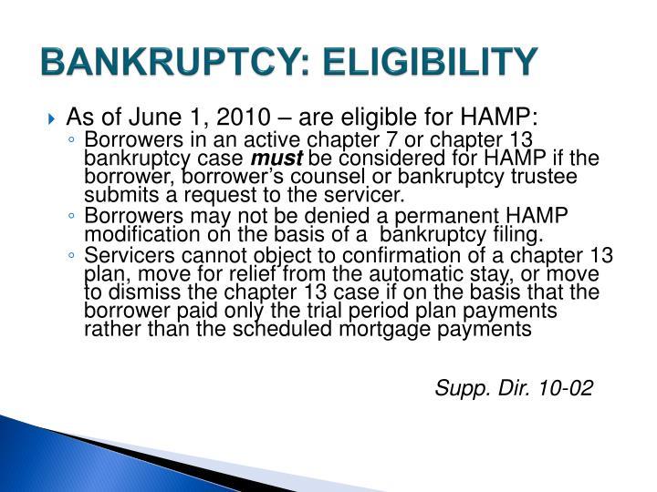 BANKRUPTCY: ELIGIBILITY