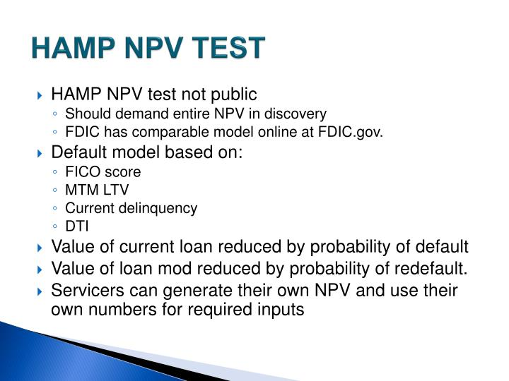 HAMP NPV TEST